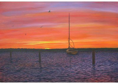 Cutty Hunk Beach Sunset, 36x24