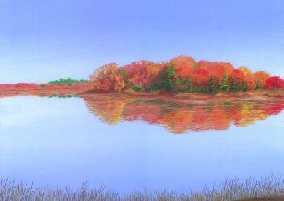 Trees on a Pond, 16x12