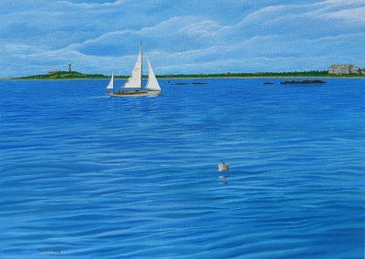 Sailing Past Round Hill, 24x20