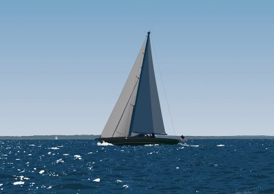 Large Sloop In Buzzards Bay